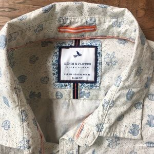 4babad69a7 Denim and Flower Shirts - Denim   Flower Button Down Short Sleeve Cactus Top
